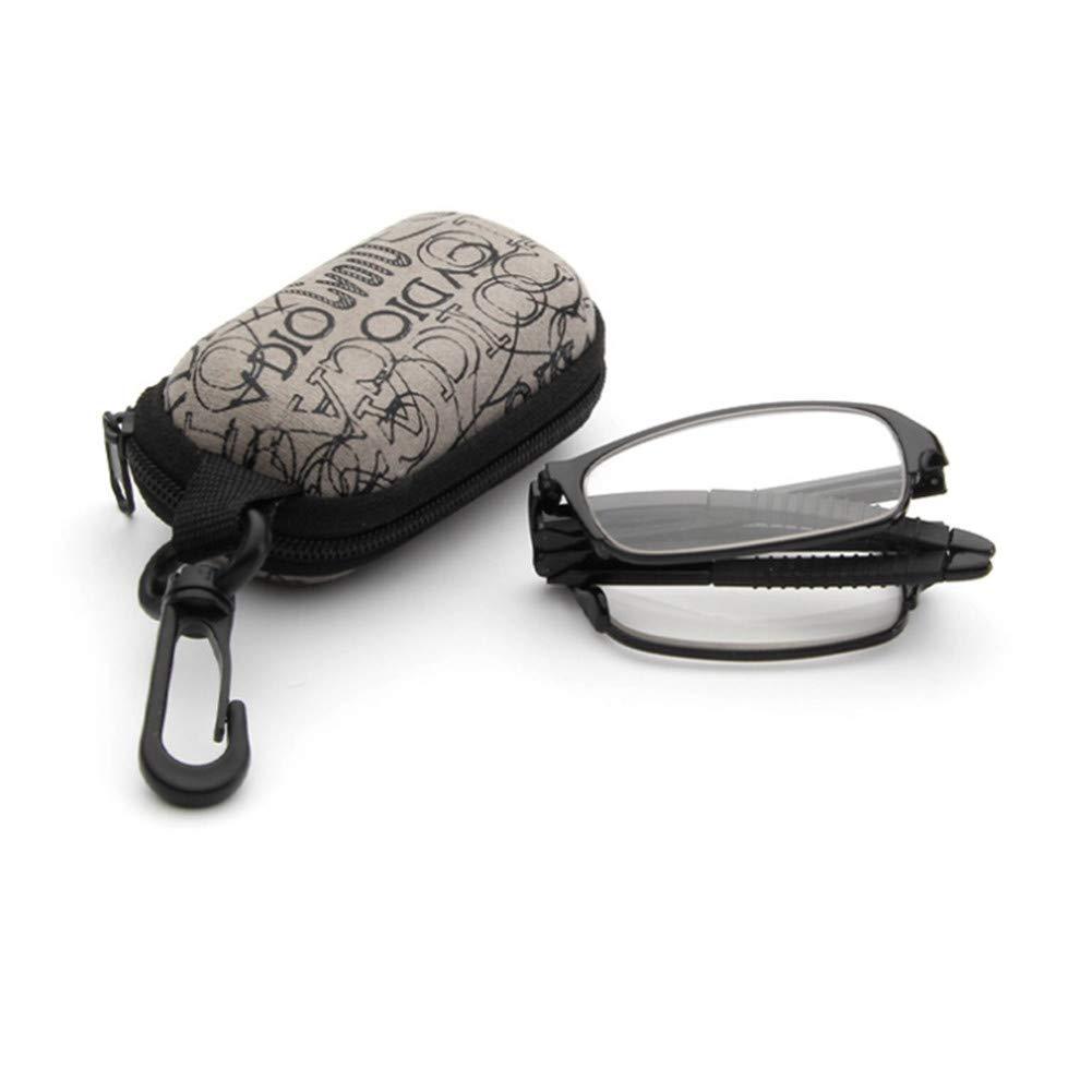 YUNCAT Mini pieghevole occhiali da lettura con caso uomini donne pieghevole presbiopia ipermetropia occhiali, ottica Pocket Reader 7 diottrie