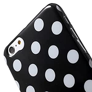 JUJEO Polka Dots TPU Gel Case for iPhone 6 Plus 5.5-inch - White / Black - Skin - Non-Retail Packaging - White