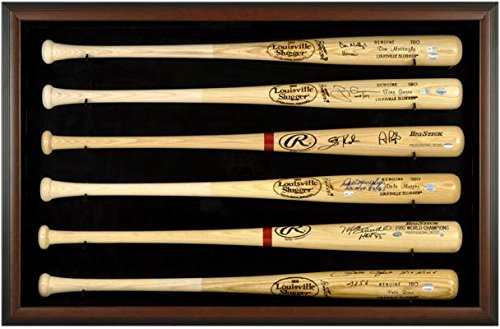(Mounted Memories Baseball Bat Display Case with Brown Wood Frame for 6 Bats)