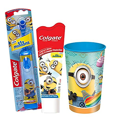 """Despicable Me """"Minions"""" 3pc Bright Smile Oral Hygiene Set! (1) Minions Turbo Spin Toothbrush (1) Mild Bubble Fruit Toothpaste! Plus Bonus Minions Mouth Wash Rinse Cup!"""