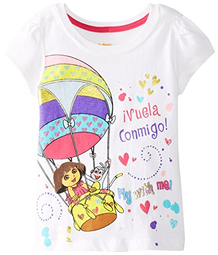 Nickelodeon Little Girls' Dora Vuela Conmigo Short Sleeve Tee, White, 3T