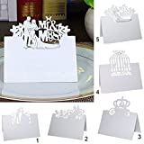 Magideal 50Pcs Wedding Marriage Party Name Number Place Table Card Laser Cut Mr & Mrs