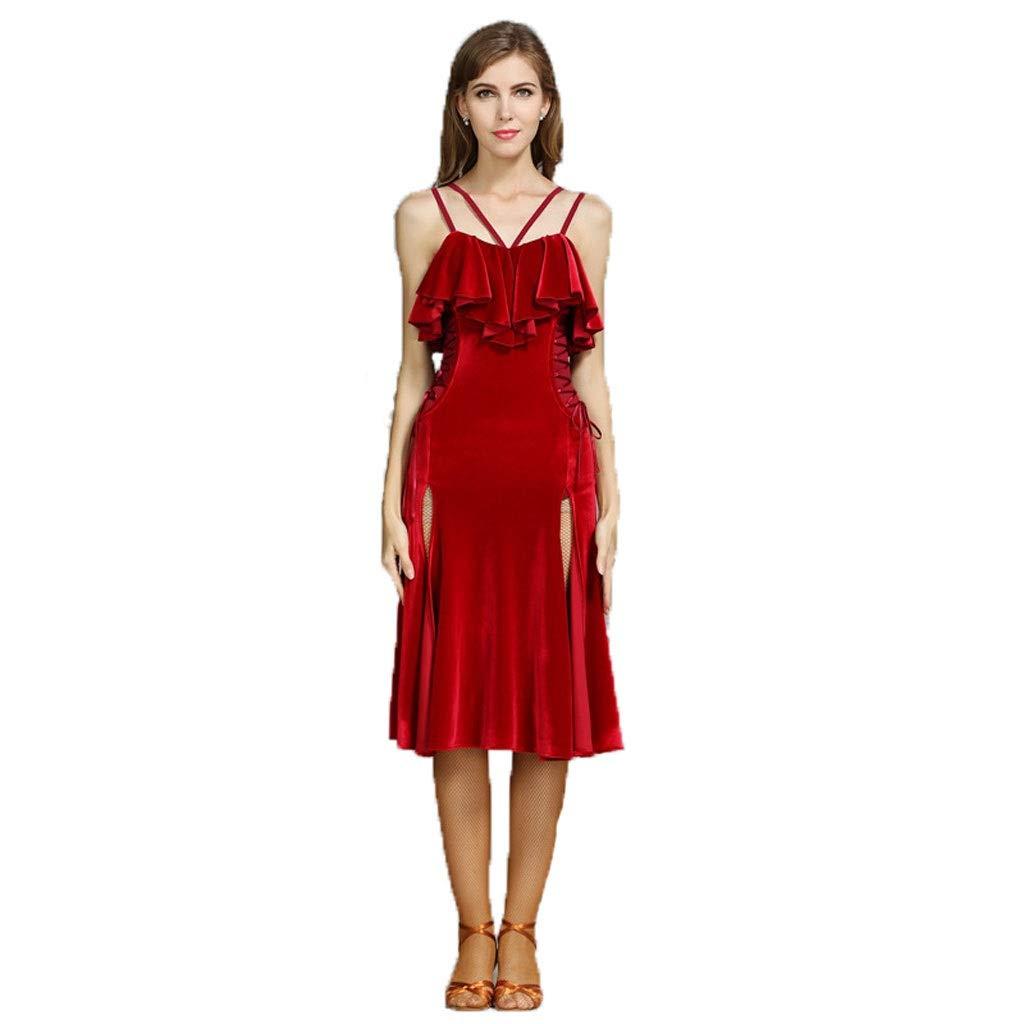 Wine rouge L Générique Robe De Danse Latine Adulte Femme en Velours Fendue Fendue Costume De Danse Latine