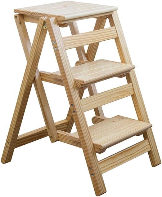 XSJ-Stepstools Escalera Escalera Escalera Escalera de Madera Plegable Taburete, 3 escalones escaleras sillas, Taburete Escalera Plegable Estante para casa o jardín, máx. 150 kg, Colores de Madera: Amazon.es: Juguetes y juegos