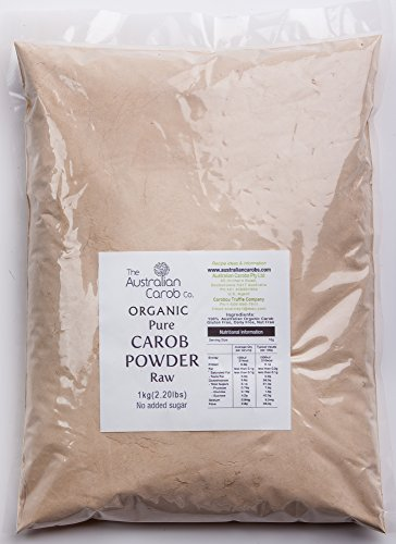 Organic Carob, Australian, True Raw Carob Powder, 2.2lb.,Superfood, Paleo, (Milled without Heat, off-white in color) NON-GMO, World's #1 Best Tasting Raw Carob, Aussie SharkBar, Organic, - Carob Raw Powder