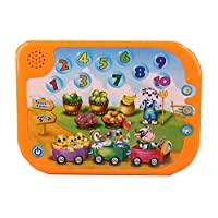 Pasaca Toys Kids Learning Pad Touch Pad with 3 Learning Game, Touch Tablet, Animal, Number (Orange)
