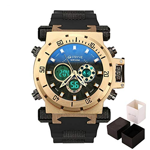 Fashion Men Military Sport Watches Mens LED Digital Waterproof Quartz Watch Male Big Dial Dual Display Clock Relogio Masculino,Black Gold