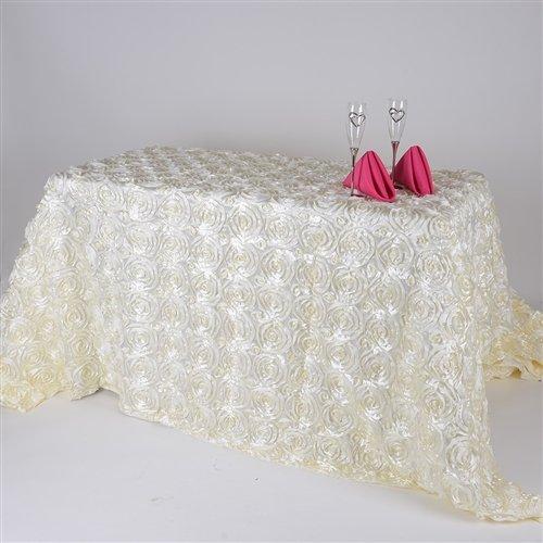 (BBCrafts 90 Inch x 156 Inch Rosette Florals Satin Rectangular Tablecloths (Ivory))