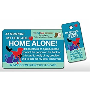 TLC Safety By Design Original Top Rated Trademarked My PETS Are HOME ALONE Alert Emergency Medical ICE ID Plastic Contact Wallet Card and Key Tag Dogs Cats (Qty. 1)