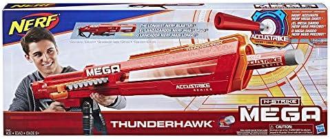 Hasbro Nerf E0440EU4 MEGA Thunderhawk, Spielzeugblaster mit Slide-Magazin und klappbarem Stativ