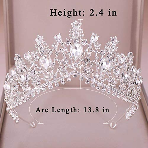 Campsis Wedding Bridal Vintage Crown Crystal Rhinestone Crowns Silver Crowns Tiaras and Crowns Luxury Hair Accessories for Women and Girls Princess Birthday Prom
