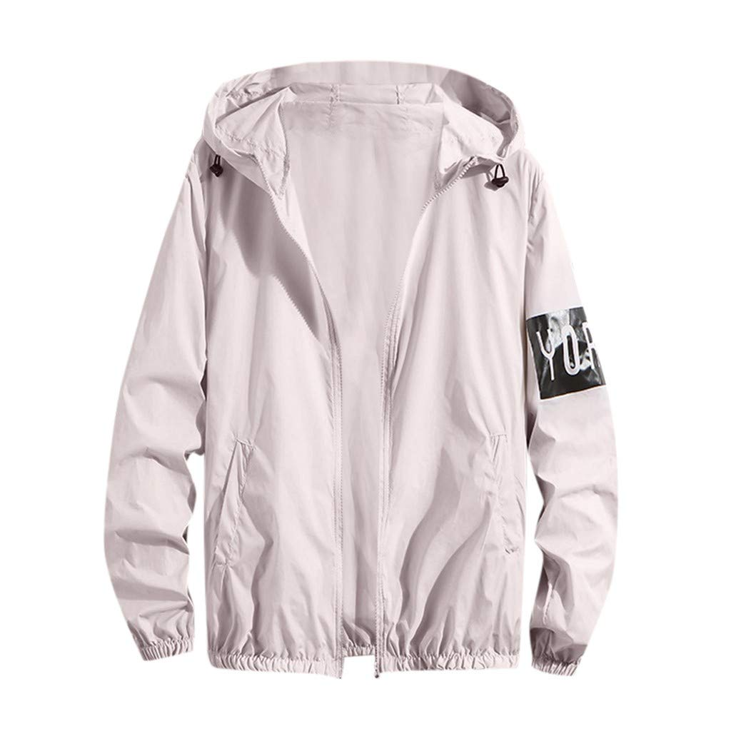 CHLZYD Men Printing Long Sleeve Sunscreen Zipper Hooded Sweatshirt Pullover Tops Blouse Gray