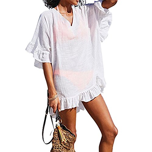 Bathing Suit Cover UPS Cotton Swimwear Beach Coverups For Women Ruffle Summer Dress Swimsuit (Design Cotton Suit)