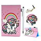 Lanveni Case All-New Amazon Fire HD 8 Tablet (8' 6th 7th Generation, 2016/2017 Release Universal) Stand Cover (Stylus & Dust Plug) Fire HD 8 Auto Wake/Sleep - Rainbow Unicorn