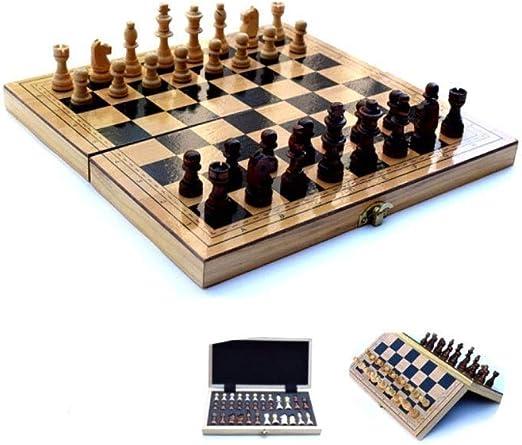TTY Juego de ajedrez de Viaje, Juego de Mesa Plegable portátil, tamaño de Viaje Cajas de Almacenamiento, Juguetes educativos de Aprendizaje for niños y Adultos (Size : L) : Amazon.es: Juguetes