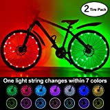 (2-Tire Pack) Waterproof LEDs Bike Wheel Lights 7 Colors Changeable Ultra Bright Colorful LED Bicycle Wheel Tire Spoke Light String Strip Lamp Bike Decorations Lights for Adults Toddlers Kids Boys