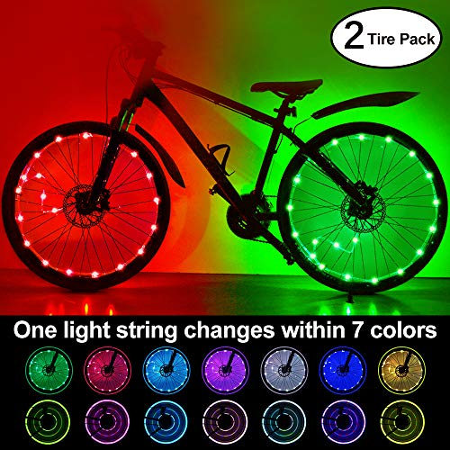 (2-Tire Pack) Waterproof LEDs Bike Wheel Lights 7 Colors Changeable Ultra Bright Colorful LED Bicycle Wheel Tire Spoke Light String Strip Lamp Bike Decorations Lights for Adults Toddlers Kids Boys by HOOMIL
