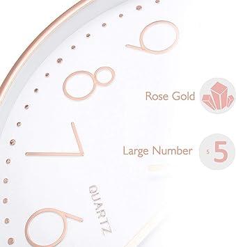 Jeteven Horloge Pendule Murale en M/étal avec Diamant Acrylique Horloge Fleur Cr/éative Design Artistique Vintage pour Salon Chambre 35cm Noir
