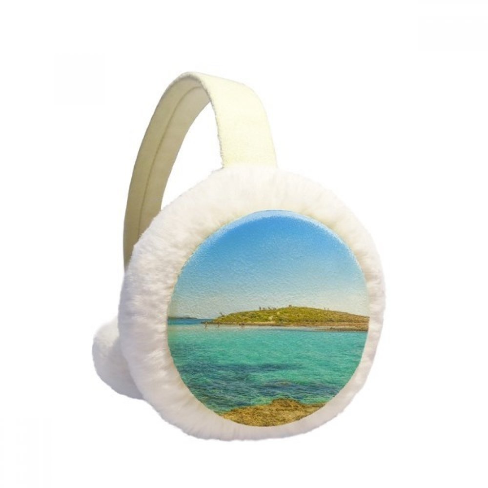 Ocean Water Island Science Nature Picture Winter Earmuffs Ear Warmers Faux Fur Foldable Plush Outdoor Gift
