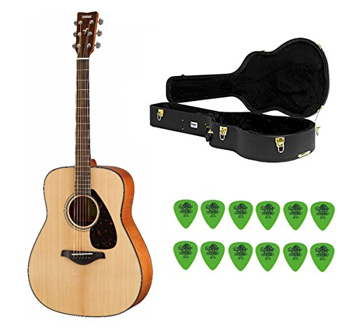 Yamaha FG800 Solid Top Acoustic Guitar with Knox Hard Case & Picks