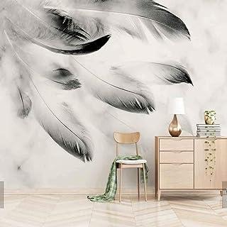 Steaean 3D Astratto Nero Bianco Piuma Animale Murale per Divano TV Sfondo Carta da Parati Rotolo Stampa Foto Wallpaper Personalizzato, 400 * 280 Cm