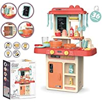 SR Toys Kids 36-Piece Kitchen Playset, with Realistic Lights & Sounds,Simulation of Spray, Play Sink with Running Water,Dessert Shelf Toy & Kitchen Accessories Set for 4 Year Old Girls