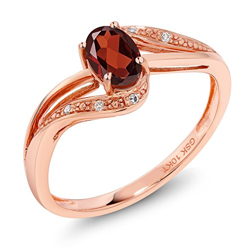 Gem Stone King 10K Rose Gold Red Garnet and Diamond Women's Engagement Bypass Ring 0.54 Ct Gemstone Birthstone Available 5,6,7,8,9 (Size 6)