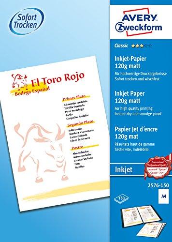Avery Zweckform 2576-150 Classic Inkjet Papier (A4, einseitig beschichtet, matt, 120 g/m²) 150 Blatt