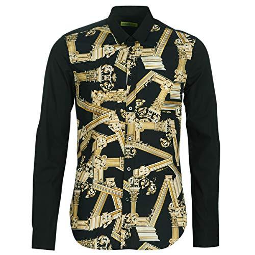 (Versace Jeans Cotton Pop All Over Logo Black Shirt 48 Black)