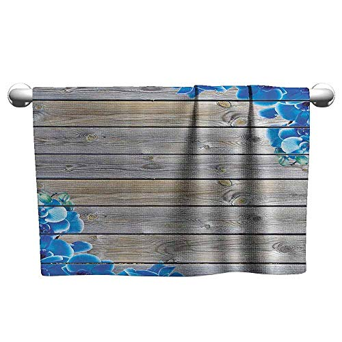 duommhome Vintage Decor Beach Activity Bath Towel Rustic Barn Wood with Wildflowers Watercolor Floral Blooms Print Cottage Country Style W12 x L27 Collection
