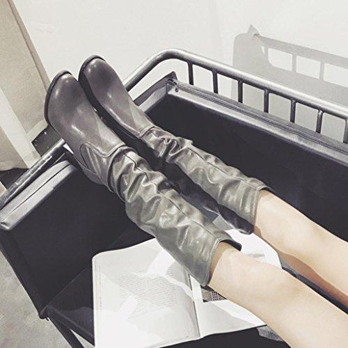 Selvaggi Boots con Alto Donna Combattimento Heel High Shoes SOMESUN da Stivali Women Gray da Peluche Tacco Stivali Invernali Esterni pqIT6