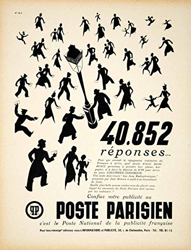 1939 Ad Vintage French Poste Parisien Radio Station People Silhouette Paris VEN9 - Original Print Ad (Silhouette People)