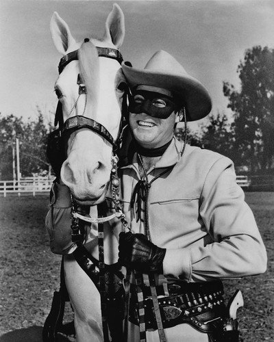 Clayton Moore in The Lone Ranger Smiling in Costume By Silver 8x10 Publicity Photo ()
