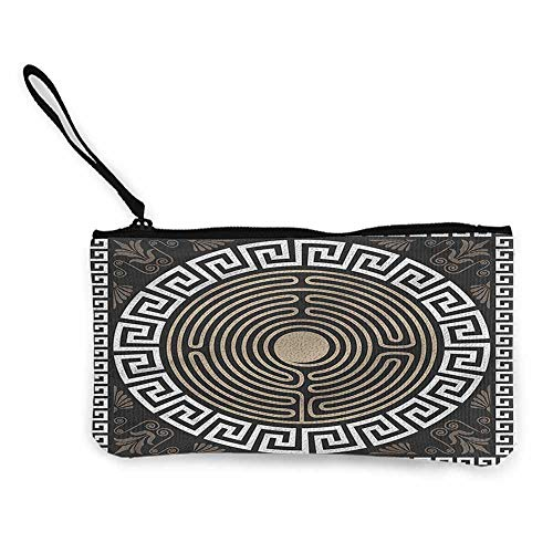 Zip Mini Wallet Greek Key,Grecian Fret and Wave,Cellphone Purse With Wrist Strap W 8.5