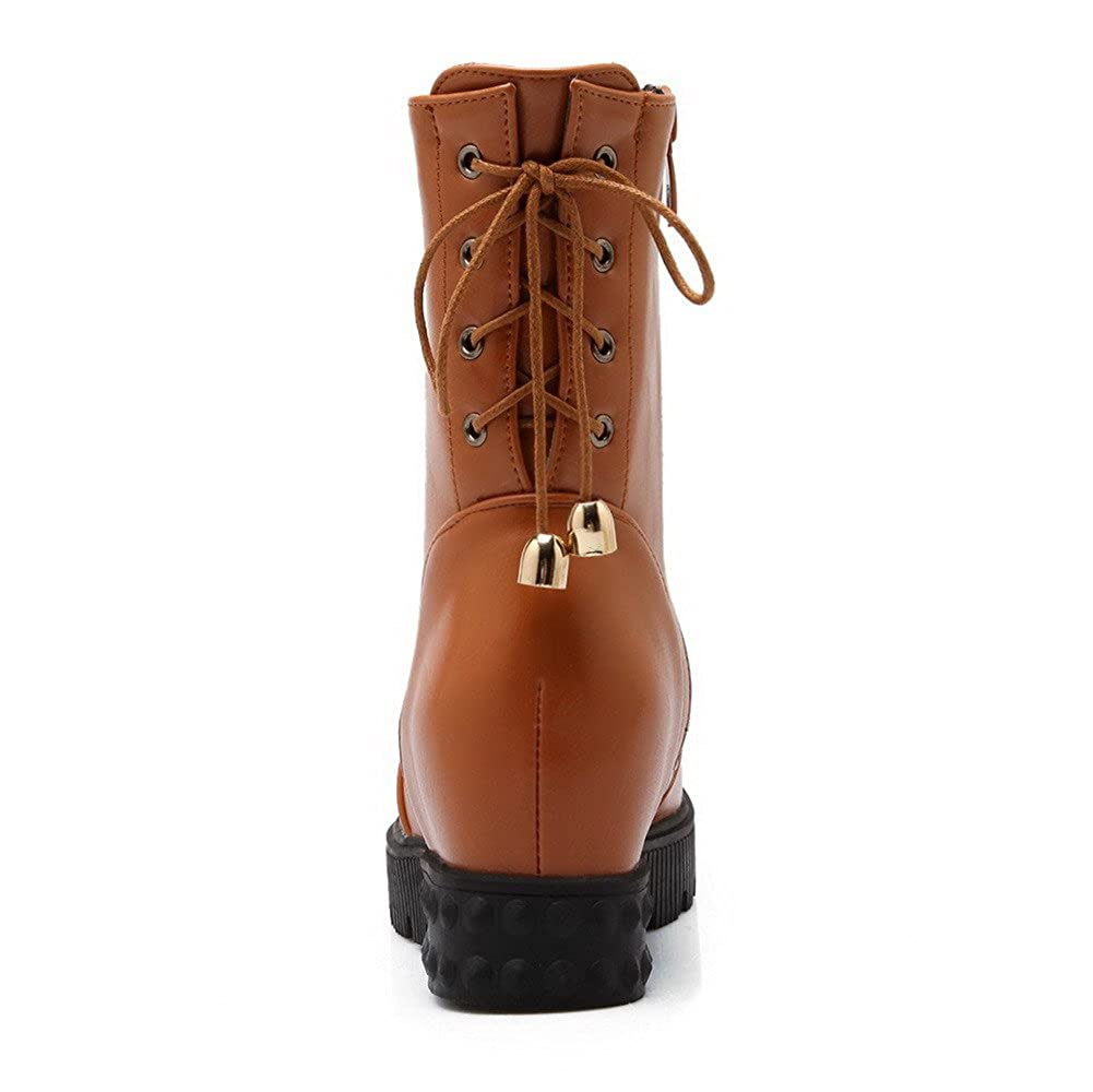 WeiPoot Women's Round Heels Closed Toe Kitten Heels Round Mid Top Solid Boots B01M1OITVR Boots d3a0d7