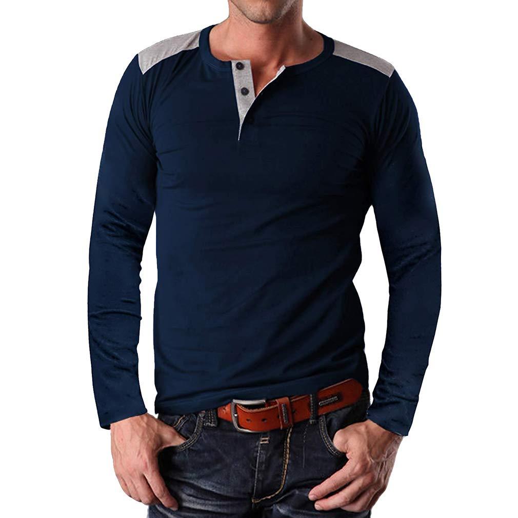 Hombres Top-Fit O-Cuello Tops de Punto Camisetas de Manga Larga de Algodón Jersey Más Tamaño M-2XL