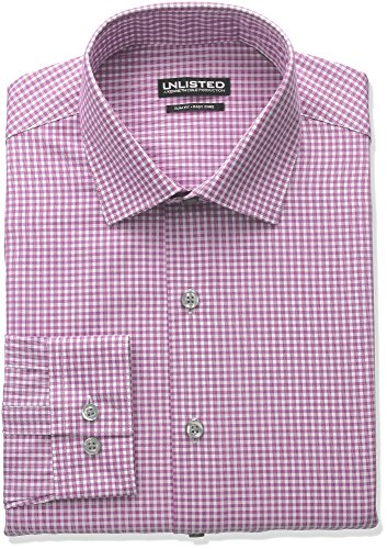 Unlisted+by+Kenneth+Cole+Reaction+Men%27s+Slim+Fit+Check+Spread+Collar+Dress+Shirt%2C+Raspberry%2C+14%22-14.5%22Neck+32%22-33%22Sleeve