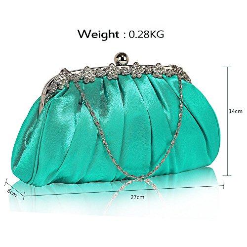 Bolso de embrague para mujer, diseño cristal Emerald Satin Clutch