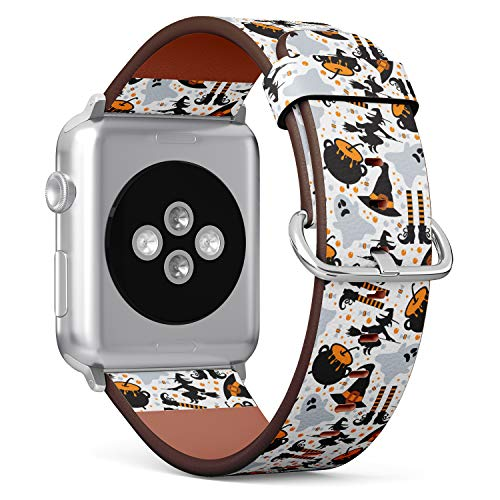 (Halloween Pattern of Pumpkin, Ghost, bat, Candy and Witch Hats) Patterned Leather Wristband Strap for Apple Watch Series 4/3/2/1 gen,Replacement for iWatch 42mm / 44mm Bands
