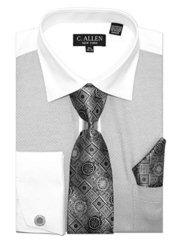 C. Allen Men's Fancy JQD Front Regular Fit Dress Shirts with Tie Hanky Cufflinks Combo Grey -