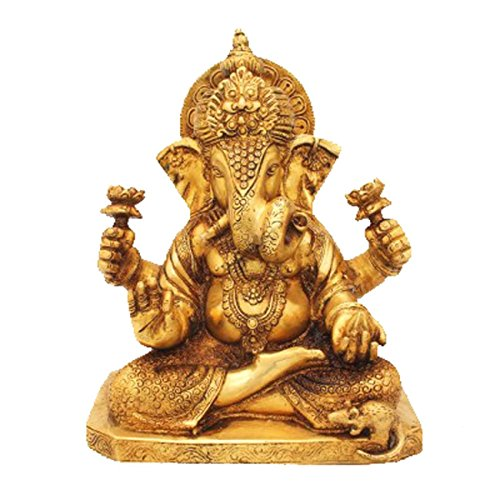 (Idol Collections Ganesha with Twisted Trunk Brass Statue, Golden)