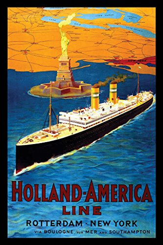 Cruise Art Deco Print (Holland America Cruise Line Vintage Travel Art Print Poster 12x18 inch)