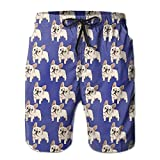 confirm vt French Bulldog Men's Summer Beach Quick-Dry Surf Swim Trunks Boardshorts Cargo Pants