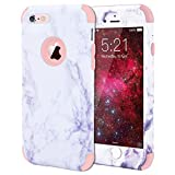 iPhone 6S Case, WE LOVE CASE iPhone 6 Case Shockproof 360 Full Protection Marble iPhone 6S Case Protective Hard Back Silicone Bumper Cover Heavy Duty Apple iPhone 6S Case Rose Gold