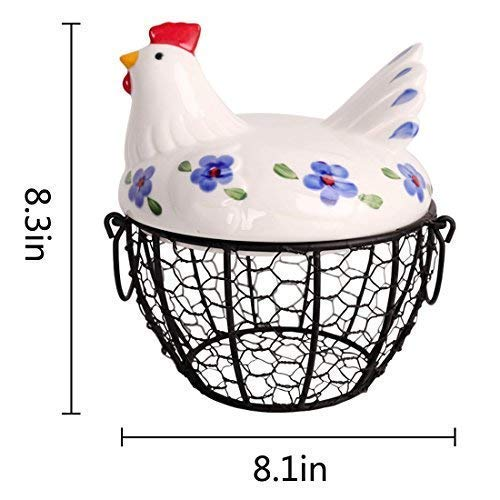 Farmhouse Style Egg Storage Basket, Chicken Design Egg Basket,Multipurpose Storage Tool for Fruit and Vegetable