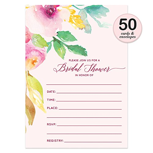 50 ct Bridal Shower Invitations with Envelopes ( Pack of 50 ) Blush Pink Bridal Invites Excellent Value Wedding Party Invitations VI0002
