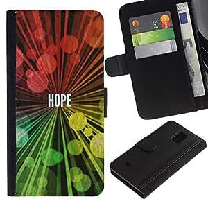 All Phone Most Case / Oferta Especial Cáscara Funda de cuero Monedero Cubierta de proteccion Caso / Wallet Case for Samsung Galaxy S5 Mini, SM-G800 // BIBLE Hope