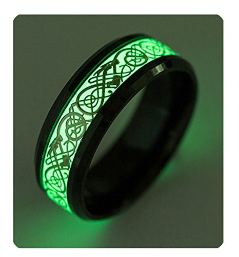 Tanyoyo Luminou Black Celtic Dragon Rings for Men Women Stainless Steel Wedding Band Jewelry (7) -