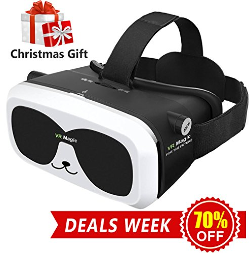 Price comparison product image Sealegend VR Headset for 3D Videos Games Fit 6.0 Inches and Smaller iPhone Android Phones, Adjustable Focal Distance and Head Straps for Kids Adults Virtual Reality Headset VR Goggles Panda VR Box