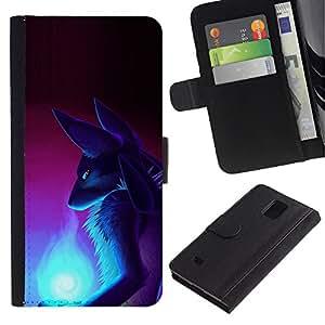 LASTONE PHONE CASE / Lujo Billetera de Cuero Caso del tirón Titular de la tarjeta Flip Carcasa Funda para Samsung Galaxy Note 4 SM-N910 / Fox Wizzard Ancient Egypt Goddess Art